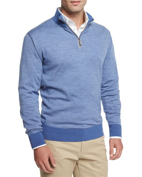 Pieter Sweater millar quarter zip pullover sweater in blue