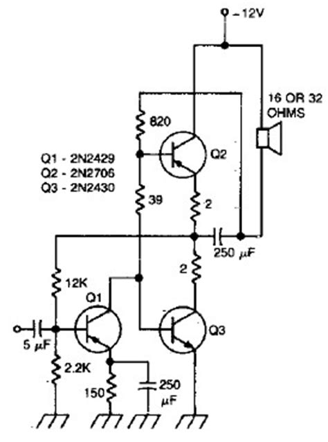 transistor lifier audio circuit wiring schematic diagram 470 mwatts audio lifier for portable applications