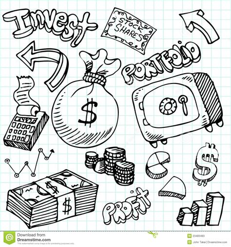 doodle pad definition financial symbol doodle set stock vector illustration