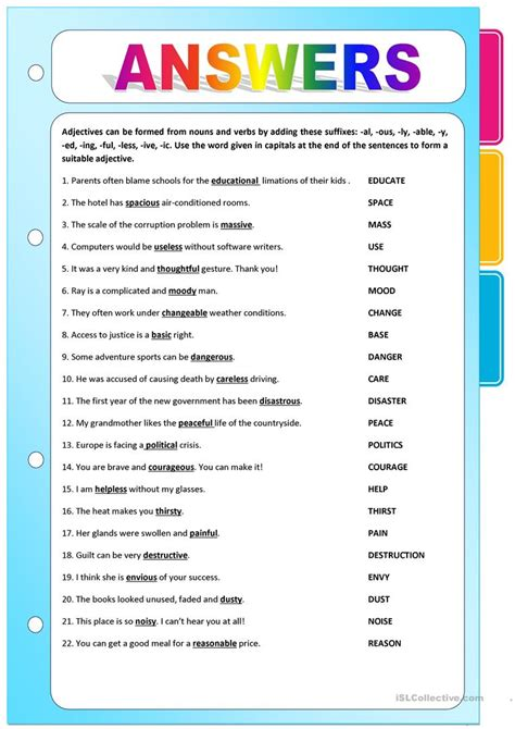esl printable worksheet noun suffixes 2 adjectives formed from nouns and verbs
