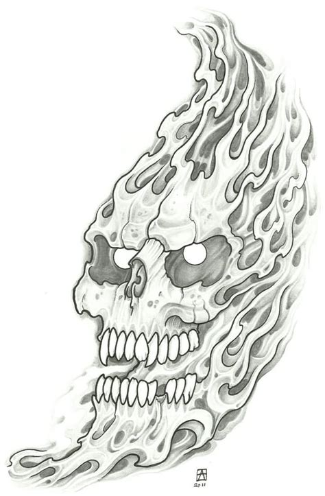 horror skull demon tattoo design