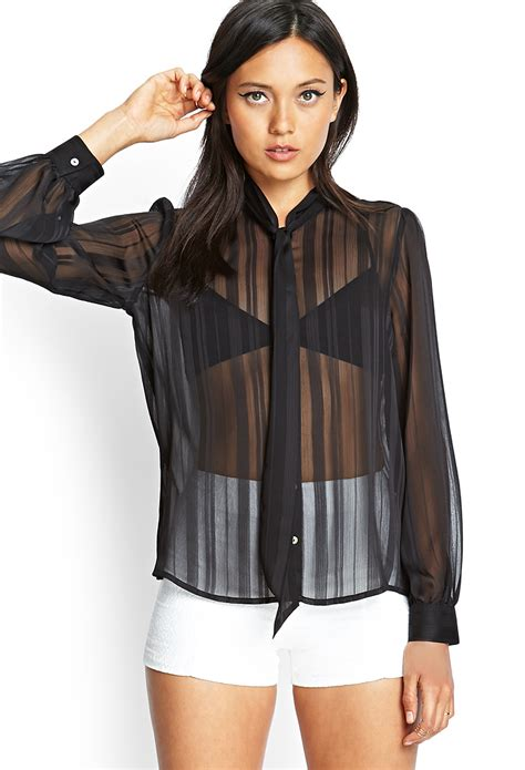 Sheer Black Blouse by Forever 21 Sheer Striped Tie Blouse In Black Lyst