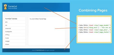 creating header and footer in php codeigniter adding header and footer formget