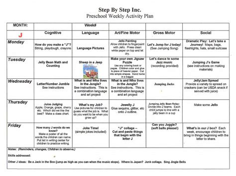 preschool weekly lesson plan from early learning