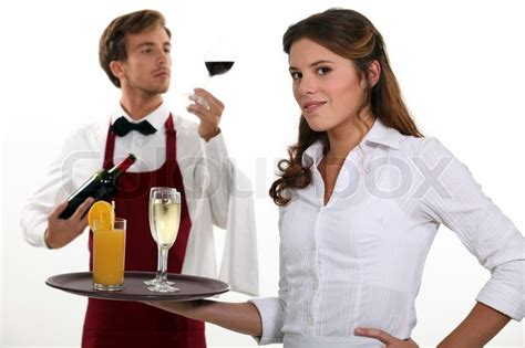 wine waiter and waitress stock photo colourbox