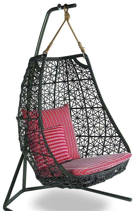 bedroom swing chair bedroom swing chair in black wicker with magenta cushion