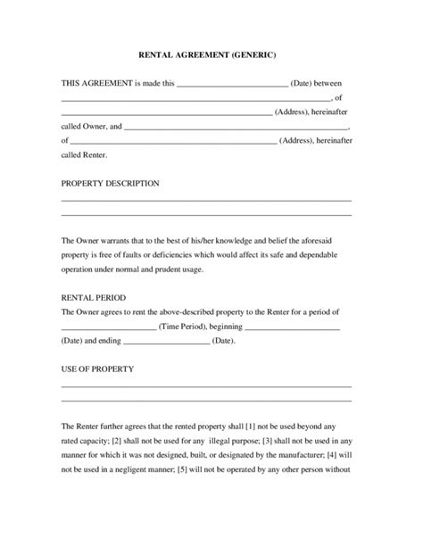 Free Room House Basic Rental Agreement Template Free Simple Rental Agreement Template