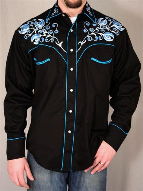 Applique Snap Button Jacket rockmount s black western snap shirt w blue floral