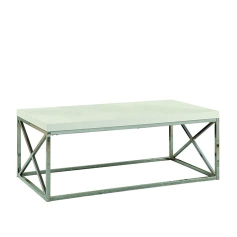 Glossy Coffee Table Monarch Specialties Coffee Table Glossy White With Chrome Metal The Home Depot Canada
