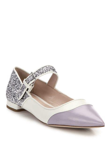 Flat Shoes Gliter Rf01 1 miu miu glitter colorblocked flats in gray lyst