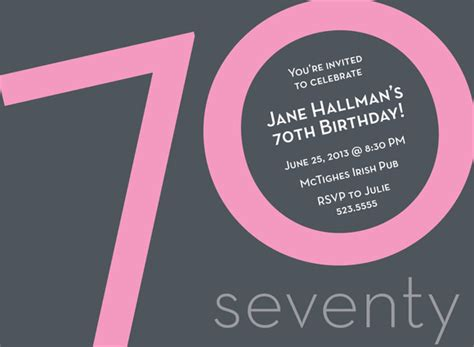 template for 70th birthday party invitation numeral card 70th pink milestone birthday invitations by