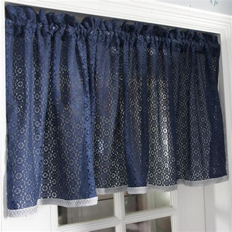 Material For Kitchen Curtains Free Shipping Blue Lace Pastoral Material Translucidus Kitchen Curtains For Living Room Bedroom