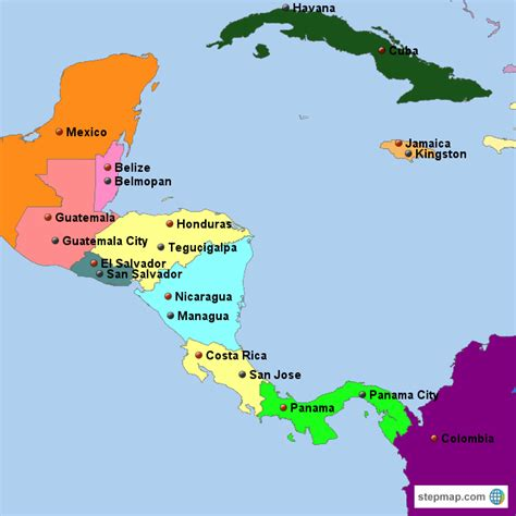 middle america map middle america with capitals map created by mlrich map of central america