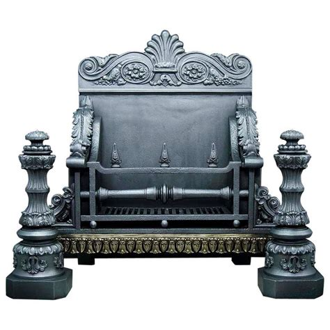 large fireplace grate large and stately antique cast iron baroque style
