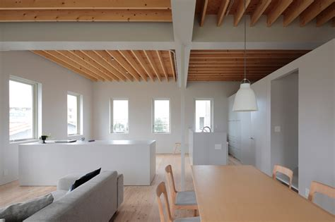 exposed ceiling joists rhythmdesign composes house in tomigusuku in japan