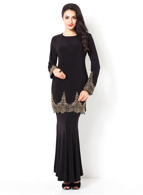 Hamidah Dress Black 1 100 gambar fesyen baju kurung kain batik sarawak dengan