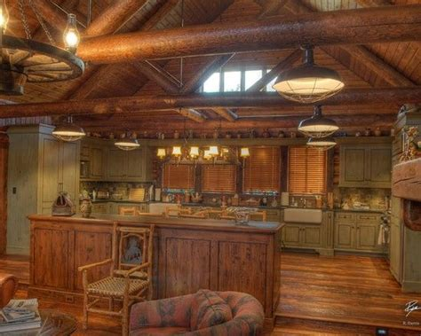 Cabin Kitchens Ideas | traditional kitchen log cabin decorating design pictures