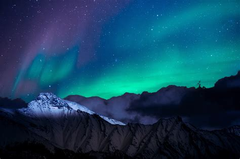 northern lights night sky mountains landscape  hd