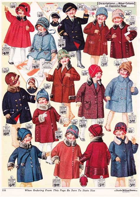 1920 childs hairstyle girls winter coats from a 1927 catalog vintage 1920s