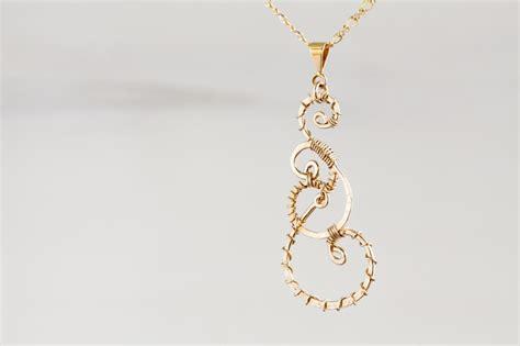 Tali Twist Gold Tlc 05 twisted teardrop wire wrapped pendant necklace hammered gold dirtypretty artwear