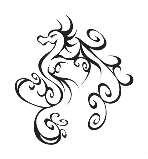 easy tattoo of dragon simple tribal dragon tattoo clipart best