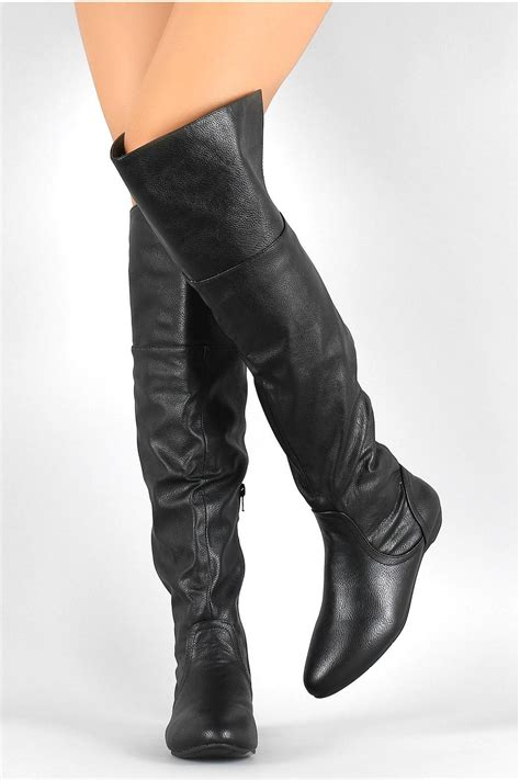 Blacky Boots Leather bamboo black leather boots from atlanta by couture fashion shoptiques