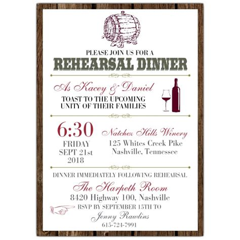 dinner invitation sle wine barrel rehearsal dinner invitations paperstyle