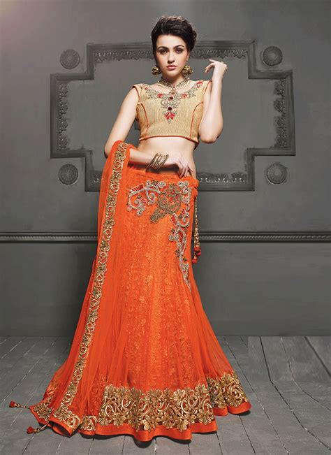 Dress Simple Motif Orange mehndi lehenga dresses for bridals designs 2017