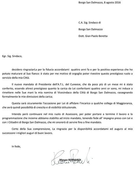 lettere dimissioni lavoro lettera di dimissioni da vicesindaco di borgo san dalmazzo