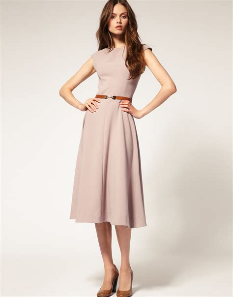 asos collection asos midi dress with contrast belt in