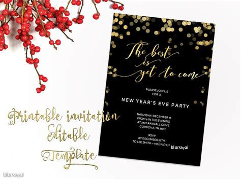 new year word template printable new year s invitation template for