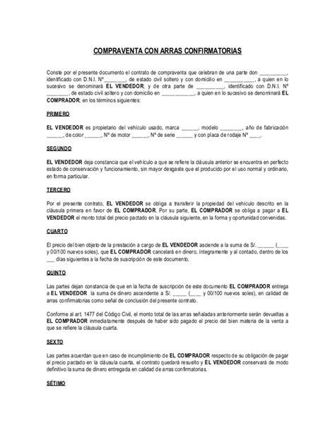 contrato de compra venta de vehiculo para imprimir contrato de compra venta con arras confirmatorias