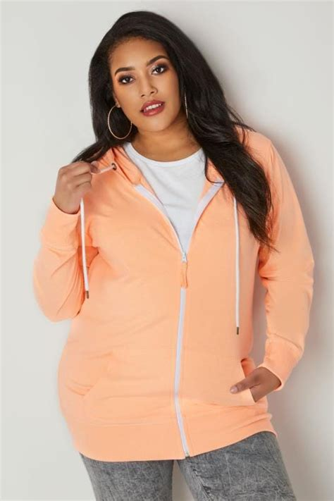 Gap Vertical Black Grey T3010 orange zip through hoodie with drawstring plus size