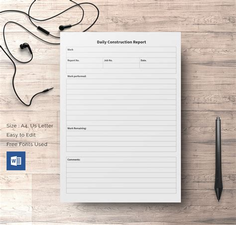 construction template daily construction report template 29 free word pdf