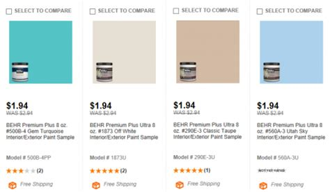 home depot behr paint sles 1 94 shipped