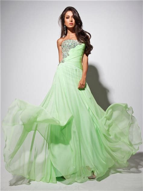 Bright Green Prom Dresses - strapless light green chiffon prom dress with
