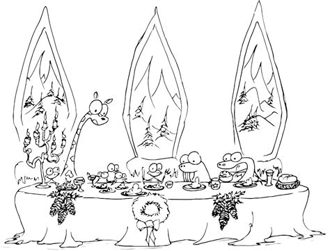 christmas giraffe coloring pages a christmas dinner coloring page with monkeys a walrus