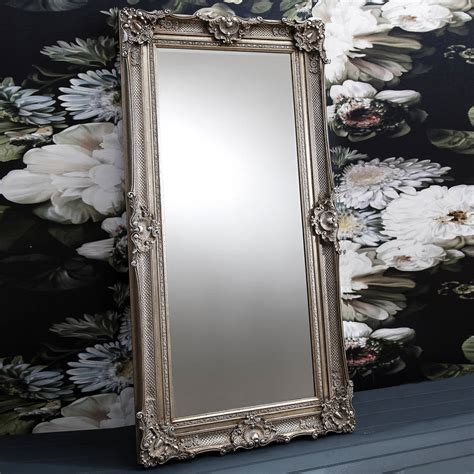ornate antique silver floor standing mirror by primrose plum notonthehighstreet com