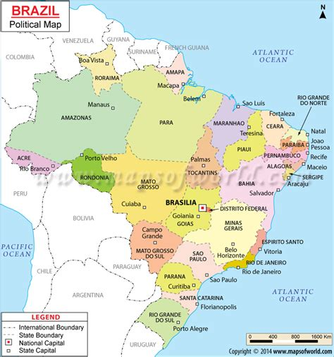 neighboring countries of brazil buy brazil political wall map