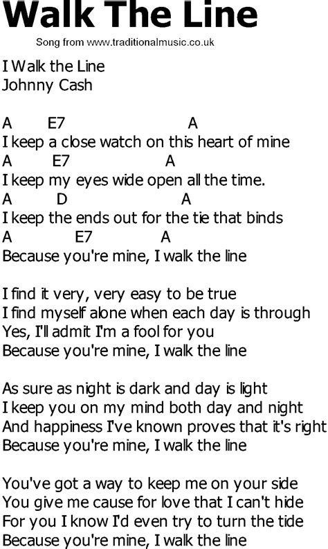 country song lyrics with chords walk the line