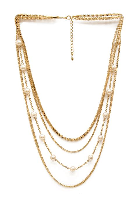 Choker Pearl Gold Chain Layered Choker forever 21 faux pearl layered necklace in metallic lyst