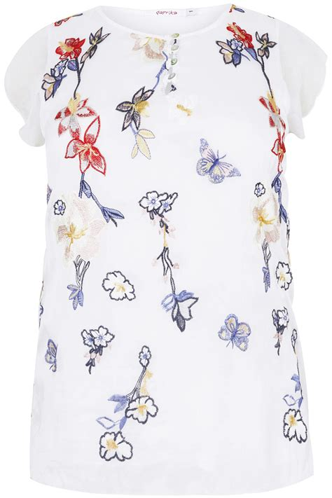 div placement paprika white blouse with floral embroidery plus size 16