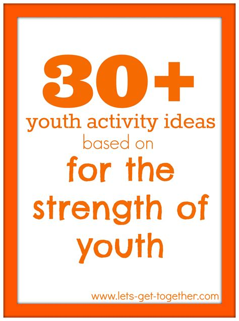 youth activities for the strength of youth activities