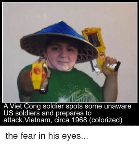 a viet cong soldier spots some unaware us soldiers and