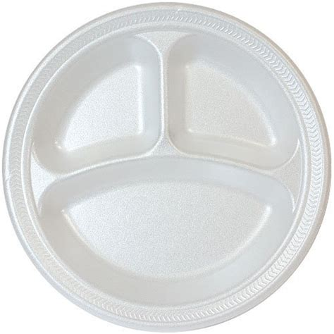 Dinner Plate Mats by 10 Inch White Foam Fast Food Plate 3 Compartment Divided
