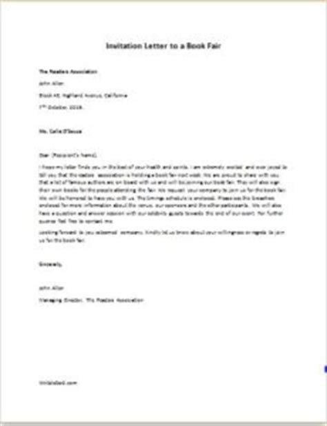 Invitation Letter To Write A Book Chapter Invitation Letter To A Book Fair Writeletter2