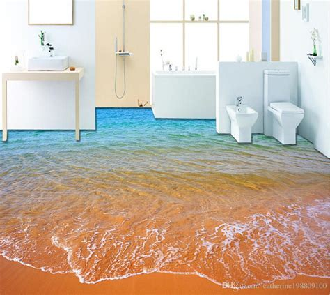 Top Classic 3d European Style Beach Waves 3d Bathroom