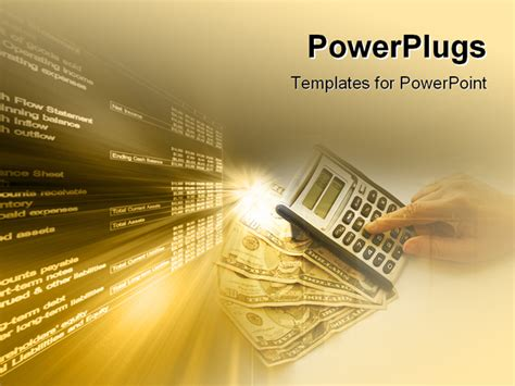 best powerpoint template calculating over a fan of money