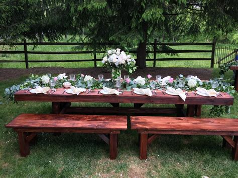 bench rental for wedding farm style table bench rentals in lancaster pa de md