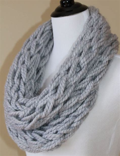 arm knitting scarves arm knit infinity scarf s chunky knit scarf made